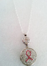 "Breast Cancer Awareness Pink Crystal Ribbon Pendant Silver Tone 16""  Necklace"