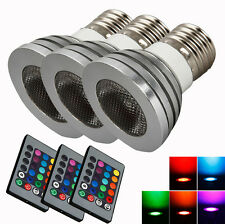 3X Bright E27 High Quality 85~265V 5W RGB Remote Control Safe Light Bulb