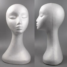 White Swan Neck Polystyrene Female Mannequin Head Retail Display Wig Stand 50cm