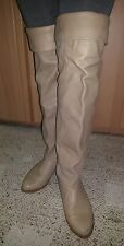 vtg 80s ZODIAC Tall Knee OTK Leather+Suede Cuffed Slouch Flat Thigh High Boots 8