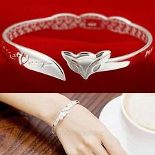 Korean Fashion Sterling Silver Fox Forever Women's Open Cuff Bangle Barcelet