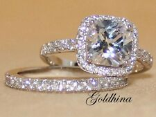 2.10 Ct D/VVS1 Diamond Cushion Engagement Bridal Ring Set in 14k Real White Gold
