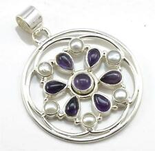 Natural Amethyst, Pearl Gemstone Pendant Solid 925 Silver Jewelry IP20590