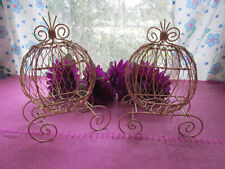 Set of 2 Mini Gold Cinderella Carriages (Use for Party  Centerpiece)