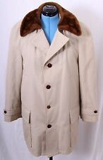 Great Western By GlenEagles Beige Buttoned Faux Fur Lined Trench Coat Men's 42
