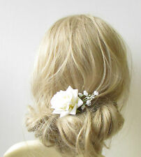 Ivory White Rose Gypsophila Flower Hair Pin Bridal Bridesmaid Clip Floral 1257