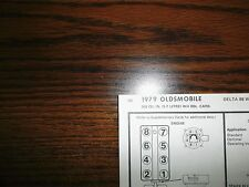 1979 Oldsmobile Olds EIGHT Series Code-X 5.7 Liter 350 CI V8 4BBL Tune Up Chart