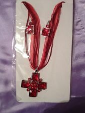 1 red cross christmas  voile necklace and matching earring set