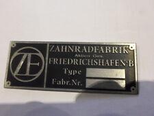 Typenschild ZF Schild Getriebe Oldtimer s14