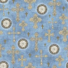 QT Heavenly by Dan Morris 24573 B Lt Chambray Crosses BTY Cotton Fabric