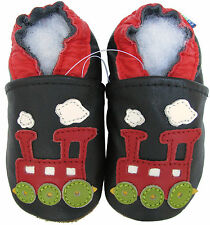 carozoo train black C1 outdoor 18-24m soft rubber sole leather baby boy shoes