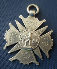 Early LARGE Silver Medal / Watch Fob - Cricket / Batsman h/m 1894 - not engraved