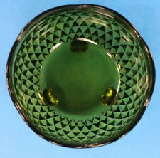 VTG Indiana Glass Diamond Point Cut Green  Candy Dish Footed Avocado Scalloped
