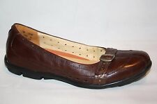 CLARKS UNSTRUCTURED BROWN LEATHER SLIP ON MARY JANE FLATS LOAFERS WOMENS SZ 7 M
