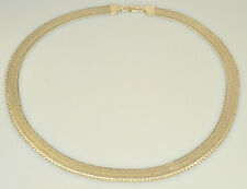 """MILOR 18"""" REVERSIBLE STERLING SILVER FLAT OMEGA NECKLACE FROM ITALY HERRINGBONE"""