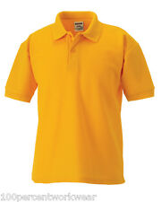 Size 7-8 Yrs Jerzees 539B PURE GOLD Polycotton Short Sleeved Pique Polo Shirt