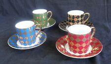 LOVELY HARLEQUIN DEMITASSE CUPS & SAUCERS (SET OF 4) MADE FOR NEIMAN MARCUS