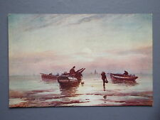 R&L Postcard: C W Faulkner, The Fishing Ship Boats Seascape, Fisherman, Artist