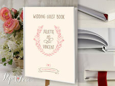 Large Wedding Guest Book Personalised Custom Made Flower Pink Wreath Rustic