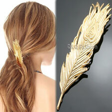 Gold Big Phoenix Peacock Feather French Updo Hair Pin Clip Dress Snap Barrette K
