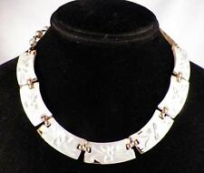 Vintage Lucite Choker Necklace Leaves Pearly Finish Retro 1950s As Is Condition