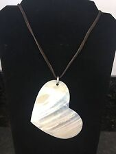 Huge Mother of Pearl Heart pendant Leather necklace 40 inches adjustable
