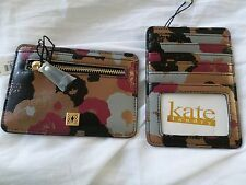 Kate Landry Gold Brown Black & Purple Coin Credit Card Euro Slide Wallet NWT