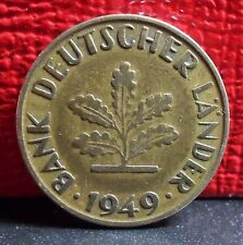 Very Nice Better Grade First Year Germany 1949G Key 10 Pfennig Coin KM# 103