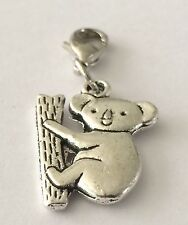 LOVELY CUTE LITTLE SILVER KOALA BEAR  -  CLIP ON CHARM  -TIBETIAN SILVER - NEW
