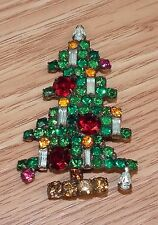 "Vintage Weiss 6 Candle Christmas Tree MultiColor Rhinestones 2 3/4"" Pin / Brooch"