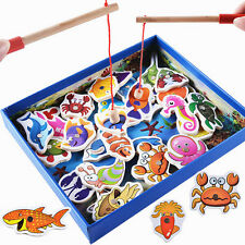 Baby Educational Toy Fish Wooden Magnetic Fishing Toys Set Game Kids Gifts 32Pcs