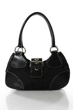 Prada Black Nylon Medium Leather Trim Shoulder Handbag LL19LL