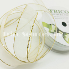 "Trico Gift Decor Organza Ribbon with Gold/Silver Edge 5/8""(16mm)x10YDS - B4068CR"