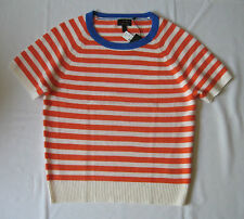 J.Crew New With Tag 100% Cashmere Vanna Stripe Short Sleeves Sweater :$228+Tax