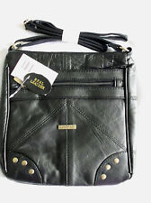 Real Nappa Leather BLACK Messenger Shoulder Bag NEW With Stud Detail BNWT