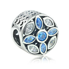 925 Sterling Silver Blue CZ Patterns of Frost  European Charm Bead for Bracelet