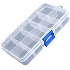 Clear Compartments False Nail Art Tips Storage Box Case SS