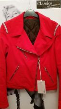 "WOMEN  BIKER BRIGHT RED VELOUR JACKET/COAT""1983"" DECO SWAROVSKI CRYSTALS EU 42 S"