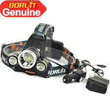 12000Lm Boruit T6+2R5 LED Rechargeable Headlamp Head Light 18650 Car /AC Charger
