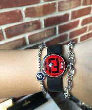 $620 FENDI Bussola Bubble Watch Dome Monogram FF Black Red * Vintage RARE!