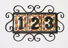 3 Mexican BLACK House Numbers Tiles with HORIZONTAL Iron Frame