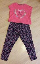 Ladies Pink & Black Floral Print Pyjamas PJ'S Size 20/22 George