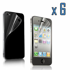 12pcs=6x(Front+Back)Clear Screen Protector Cover Film for Apple iPhone 4 4S 4G