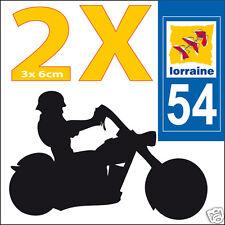 2 stickers autocollants style plaque immatriculation moto Département  54