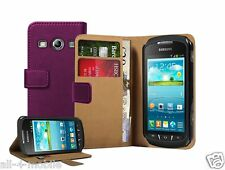 PURPLE Wallet Leather Case cover for Samsung Galaxy Xcover 2 GT-S7710 GT-S7710L