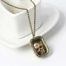 Halloween Jewelry Gift  Magic Wizard Moveable Skull Case Pendant Necklace Chain
