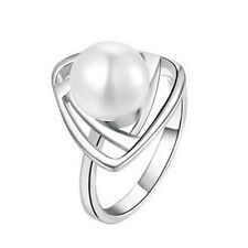 Silver & White Pearl Triangle Large Size Q Engagement Ring Diameter 18 mm FR142