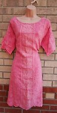 WRAP PINK FLORAL EMBROIDERED SHIFT 100% LINEN BOHEMIAN TUNIC BAGGY DRESS 16 XL