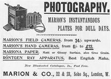 MARION & CO Photographic Equipment - Victorian Advert 1897