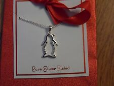 silver plated penguin necklace ~ retail 40.00 NWT from department store/not junk